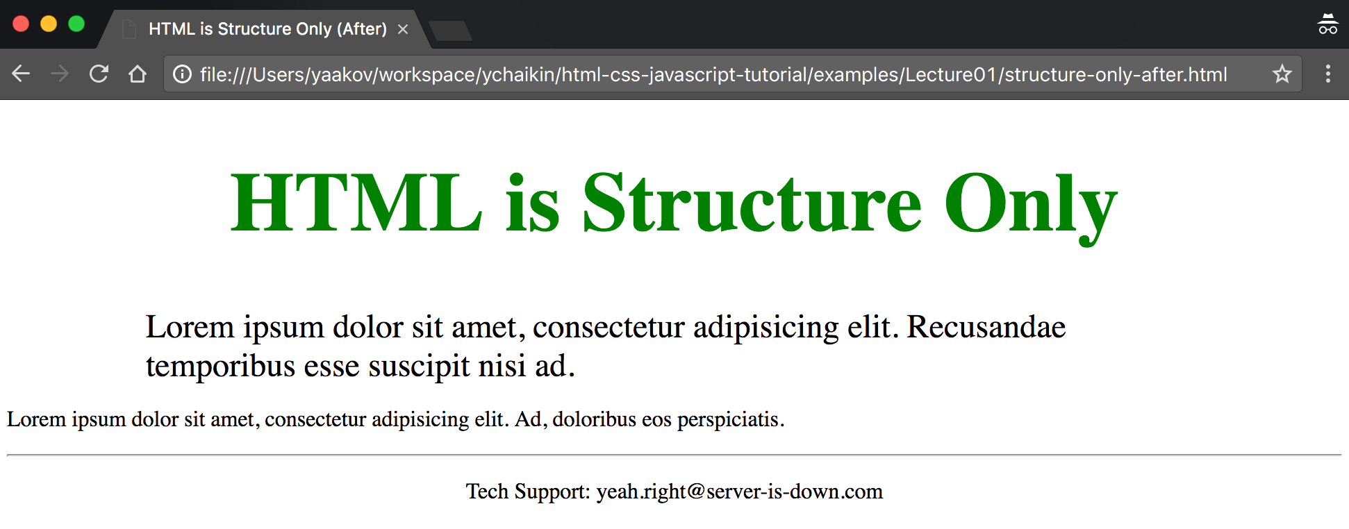 Screenshot of structure-only-after.html displayed in Chrome