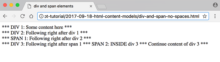 div and span code with no spaces example browser screenshot