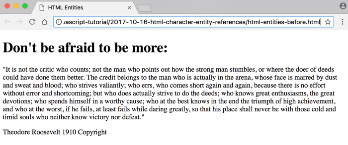 HTML without character references Roosevelt quote browser screenshot